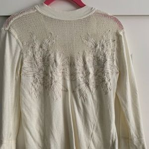 Free People Mesh Lace ¾ sleeve blouse button
